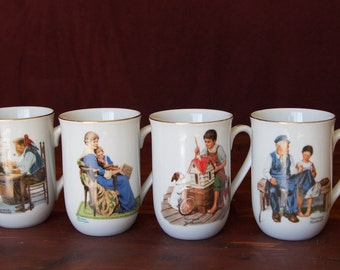 Vintage Norman Rockwell Mugs - Set of 8