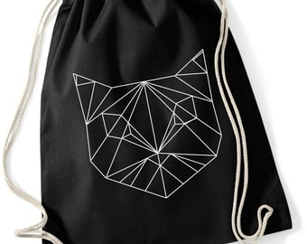 Hand printed Gym Bag / Sports Bag / gym sac/ cotton bag with geometric cat print Black / White / Ecru 37 x 46 cm