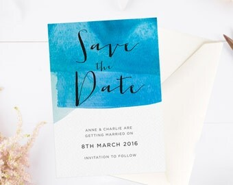 Blue watercolour calligraphy A6 save the date card with envelope