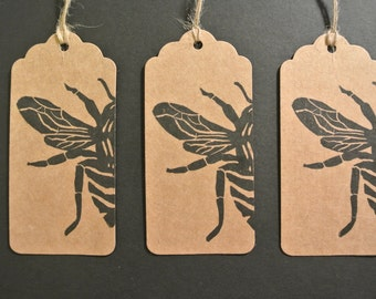 Honey bee gift tags on kraft card