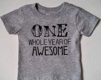 Grey One-Year-Old Shirt. ONE Whole Year of Awesome. Graphic tee baby birthday. Birthday T shirt. 1st Birthday Girl. 1st Birthday Boy. #1