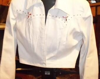 Vintage White Leather Studed Jacket Pink Rinestone White Leather Jacket