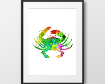 Nautical Crab No4 Print, Crab Watercolor, Bathroom Art Print, Nautical Nursery, Nautical Art Print, Sea Life, Beach House Decor (No A0129)