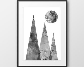 Geometric Print Black and White, Watercolor Print, Abstract Art, Mountains Print, Nordic Design, Minimalist Modern Art (No A0212)