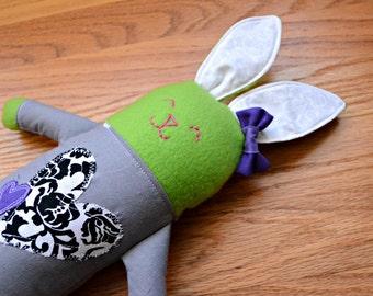 Spunky Heart Plush Bunny (Easter Bunny, newborn toy, rabbit, stuffed lovie, plush lovey, plushie, handmade gift, soft baby toy, Baby Shower)
