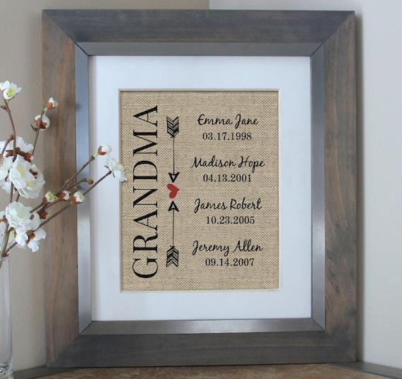 Grandma Gift Burlap Print Personalized Gifts By EmmaAndTheBean