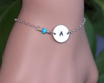 Initial bracelet,  Personalized Bracelet, Sterling Silver Initial Bracelet , Custom Hand Stamp Bracelet, Initial Disc Bracelet,  Layered