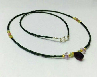 FREE SHIPPING Afghan Natural Jade Tiny Seed Beads with Amethyst Pendant, Peridot, Labradorite Gold Plated & Silver Clasp Necklace Jewelry