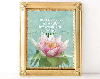 Mother's Day Gift / Every Day Spirit / How Grateful I Am Print / Mother's Day Print / Gift For Mom / Lotus Blossom / Yoga Mom Gift