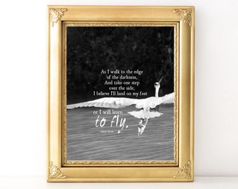 To Fly Print / Every Day Spirit / Inspirational Wall Art / Dorm Decor / Encouraging Quote / Uplifting Wall Art / Motivational / Heron