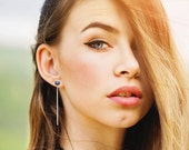 Tahitian blue pearl stud and sterling silver dangle earring jacket convertible earrings