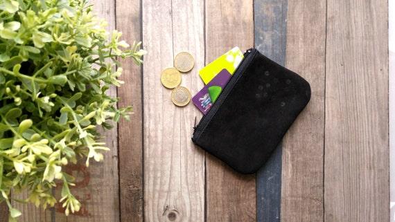 Mini pouch wallet leather black velvet and sequins black