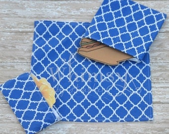 Blue,  Lunch set, reusable sandwich bag, reusable snack bag, cloth napkin, ecofriendly lunch set