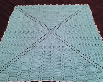 Crochet Square Baby Blanket - Robin's Egg Blue