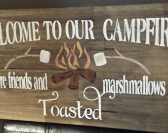 CAMPFIRE SIGN/COTTAGE Sign/Camp Sign/Marshmallow sign/Toasted Marshmallow/Outdoor Sign