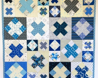 Blue and White X Baby Quilt