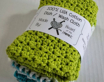 Cotton Dishcloths Washcloths - set of 2