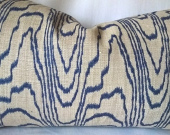 Lee Jofa Groundworks Kelly Wearstler Agate Slate/Linen Custom Pillow Blue Velvet Back!