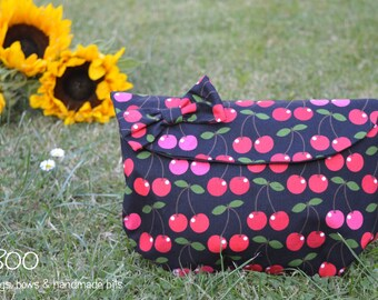 Cherry Clutch, Make-Up Pouch & Bow Set