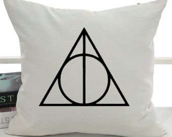 "Deathly Hallows - HP - Decorative Throw Pillow Cover - 18""x18"""