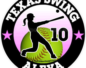 """Softball Car Decal 118 6"""". Choose YOUR colors!Team Discounts! Request a free proof if needed for your team before ordering."""