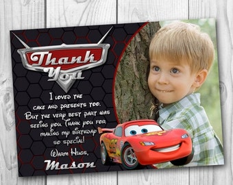 DIGITAL FILE Cars Thank You Card - Cars Thank You Note - Disney Cars Thank You - Lightning McQueen Thank You Card