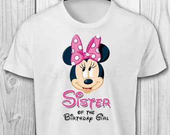 DIGITAL FILE - Minnie Mouse Sister of the Birthday Girl - Minnie Mouse Birthday Iron On Transfer - Minnie Mouse Birthday Shirt Printable