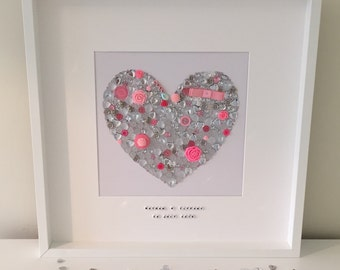 Personalised Alternative Guest Book Signing Art - heart - silver and pink - wedding planning - match to your wedding theme or home decor