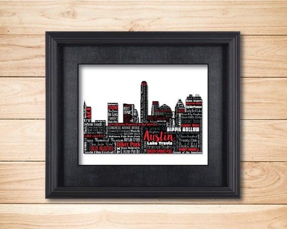Austin Texas / UT Longhorns / Word Art Typography / Home Decor