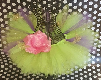Fairy  and butterflies green and purple Tutu