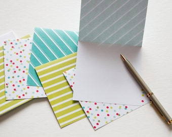square note cards, cute stationery, colorful cards, card set, stationary, blank cards, blank notecards, Christmas thank you cards, fun