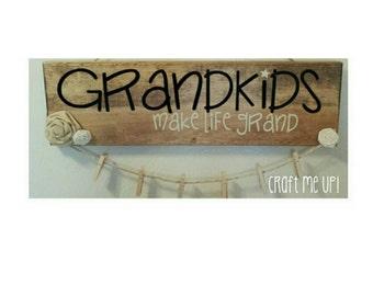 GRANDKIDS make life grand picture display sign,Photos,Grandkids sign,Grandchildren,Grandparents,Grandma,Grandpa,Present,decor,Gift Ideas