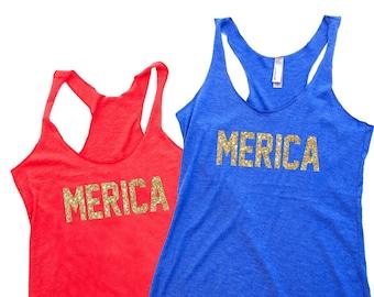 Women's Tank Top - MERICA . 4th of July Shirt Women. Workout Tank. July 4th Tank. 4th of July. Country Concert Top. Workout Shirts. USA Tank