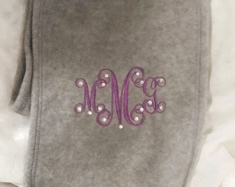 Monogrammed And Swarovski Blinged Scarf With 3 initials
