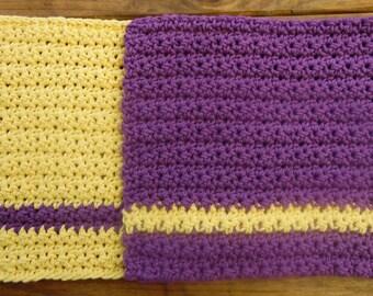 Crochet Dish Cloth Purple and Gold/ set of 2