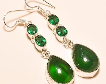 Green Onyx /Chrome Diopside Drop Earring/925 Silver Earrings/ Green Gemstone Earrings/ Weadding Gifts Silver Jewelry