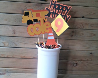 Construction Centerpieces - truck party - personalized - party supplies - table decorations - boys birthday