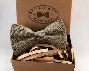 Handmade Tweed Bowtie in Grey Oatmeal - Adults & Boy's sizes Available