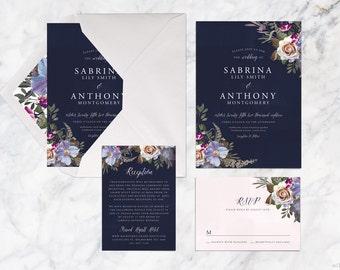 Printable Wedding Invitation Set, Botanical Dark Blue Purple Pink Wedding Invitation Set, Rose Pansy Wedding Invitation Set