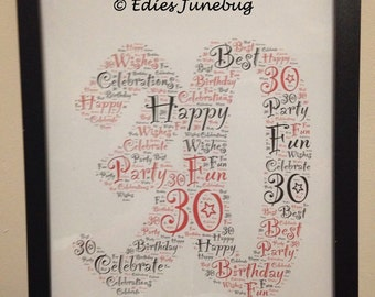 30th Birthday Gift, Handmade Keepsake for 30th Birthday, Persobalised Art, Digital Image To Print, Framed Gift, Typography Print, Custom