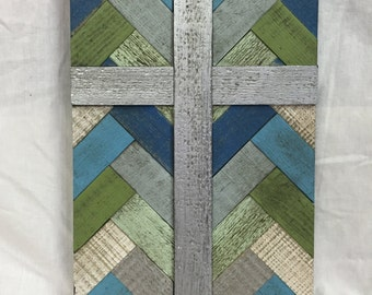Small Cross, Blue Herringbone