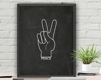 SALE Peace Sign Chalkboard Printable Wall Decor Digital Black and White Instant Download 8x10 16x20 22x28