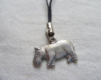 Hippo phone charm,hippo cell phone charm,mobile accessory,animal phone charm,gift,phone lanyard,hippo charm,cell phone accessory