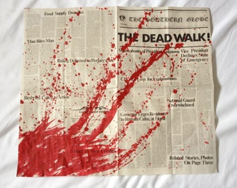 George A. Romero's DAY of the DEAD The Dead Walk! Newspaper Prop Replica BLOOD Splattered Version 18