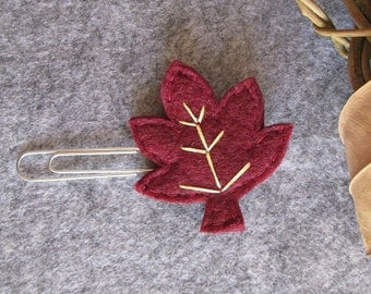 Leaf paper clip; Felt paper clip; Bordeaux Leaf; Fall Planner accessories; planner clip; Felt bookmark; Gift under 3; Stocking stuffers