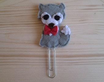Wolf paper clip - Planner accessories - Felt paper clip - Planner clip - Bookmark - Planner goodies