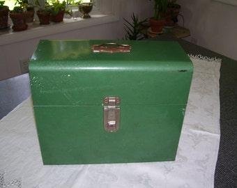 Green Metal File Box Metal File Storage File Box Vintage