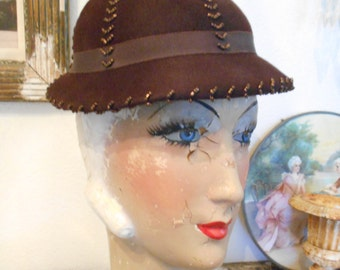Cute Brown Felt  Hat with Beads