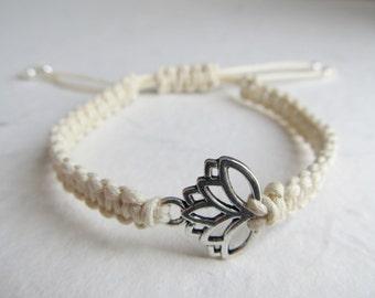 Lotus bracelet, lotus jewelry, yoga bracelet, macrame bracelet