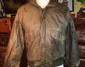 ON SALE Vintage 1990's The Hunt Club Men's Distressed Dark Brown Leather Bomber Motorcycle Jacket Size 38R--Made in Korea